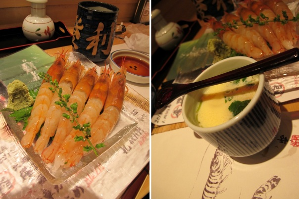 Akai Ebi (Red Prawn sashimi) and Chawanmushi (steamed egg with seafood inside)