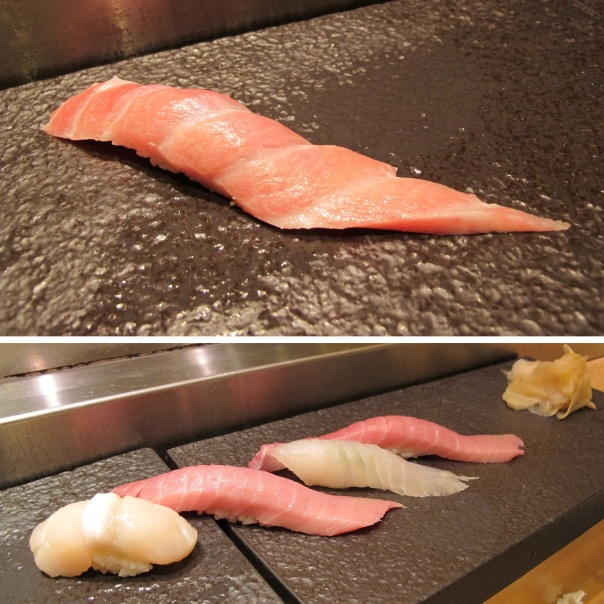 Top: Ootoro (fatty tuna belly) Bottom: Hotate (scallop), Toro (tuna belly), something kingfish i think, and Toro again