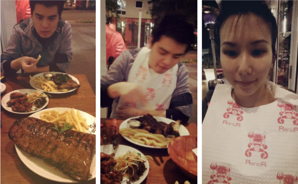 """Khoi looking at me like """"are you crazy how you going to finish THAT?!""""; we're speshull, we need bibs"""